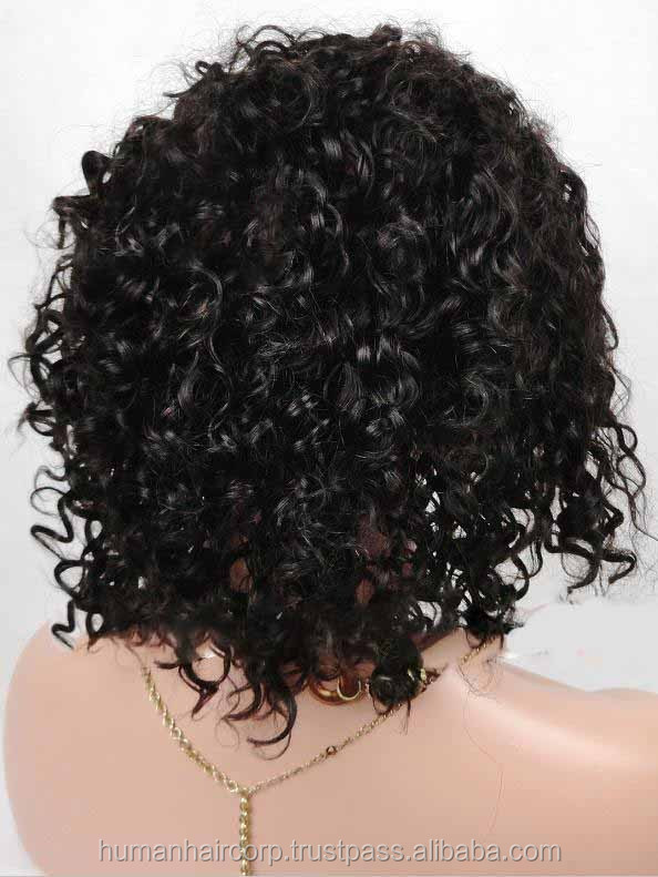 "10"" #1b 150% density 6a grade human hair afro kinky curly indian remy hair short human hair full lace wig for black women"