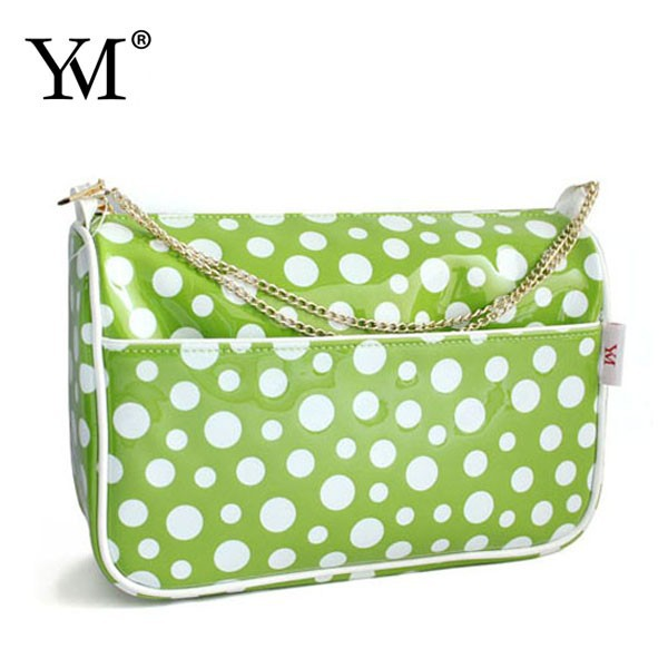 2014dot print high quality PU leather cosmetic bag wholesale with links