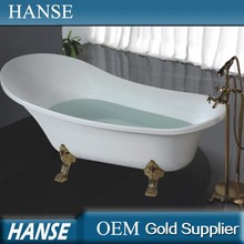 HS-B512 white color acrylic clawfoot tubs prices with copper floor stand faucet