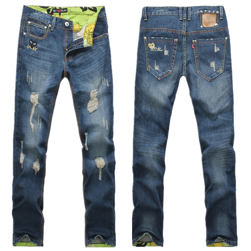 Brand Man Jeans Fashion 2015 True Jeans Mens Distressed Jeans Ripped Slim Straight Destroyed Denim Casual Pants Size 28-38 L141