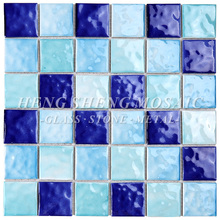 Wavy 3D Non-Slip Candy Color Blue and White Ceramic Swimming Pool Tile Bathroom Spa Mosaic Decoration Walls