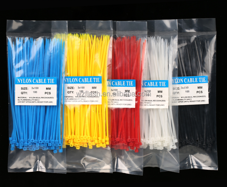 Colorful high-quality cheap Self-locking velcro Cable Tie sizes wholesale