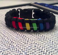 Rainbow Gay Pride Paracord Bracelets / Anklets with Buckle