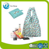 Fashion Style Promotional Eco friendly Foldable Reusable Fancy 100% Ripstop Thick Nylon Shopping Bag With Handle