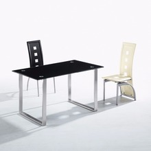 Tempered Glass top stainless steel frame dining table with leather chairs furniture