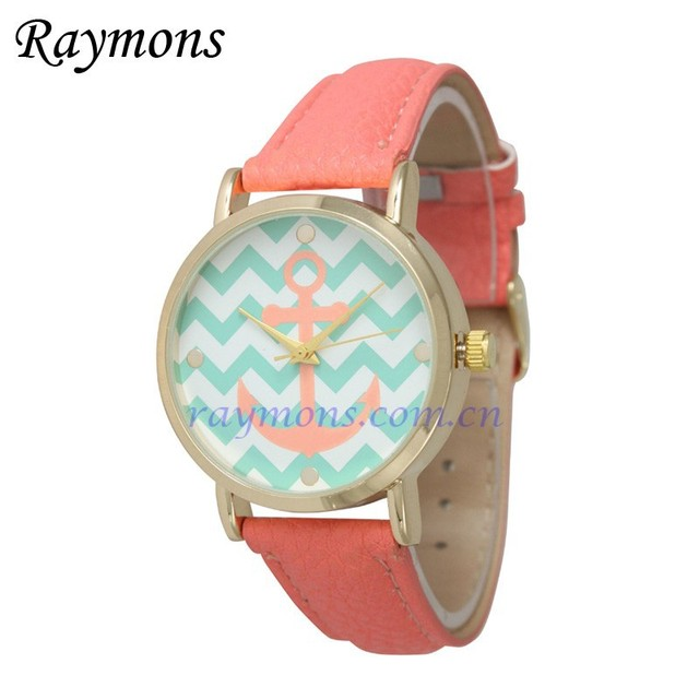 Custom logo anchor face ladies colorful watches
