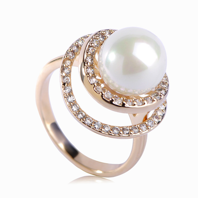 Blucome Fashion Jewelry Elegant CZ Zircon Prong Setting Crystal Simulated Pearl Women Party Engagement Metal Ring