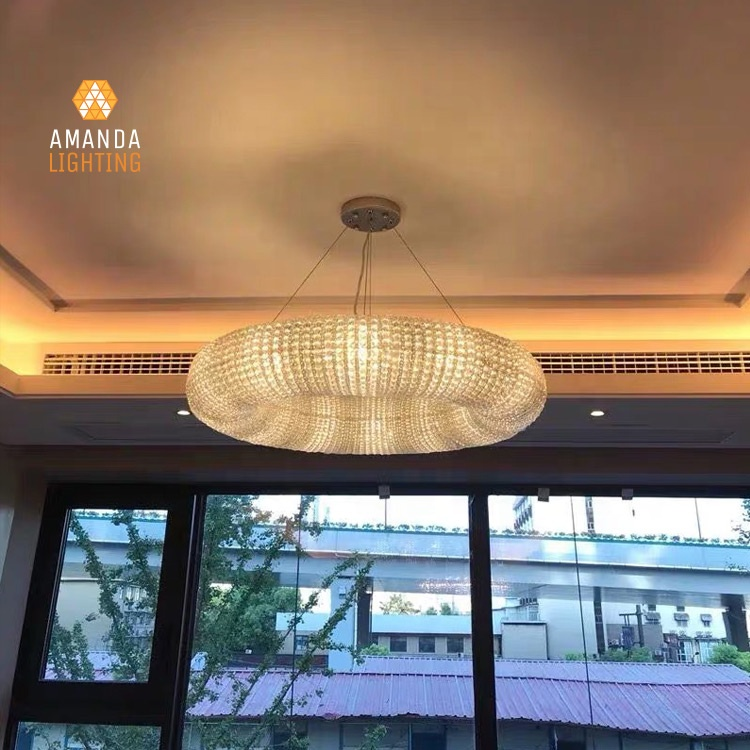 Modern European Led Circle Crystal Centerpiece Pendant Light Fixtures For Homes table top chandeliers