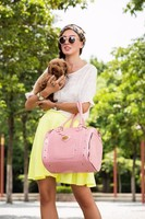 pink croco luxury pet carrier dog bag