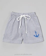 Summer hot sale casual style children boys boutique embroideried linen shorts toddler seersucker pants