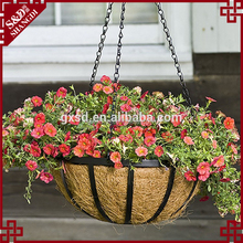 Wholesale Coconut Fiber Hanging Flower Basket Wrought Iron Hanging Basket with Coco Liner with Sling chain