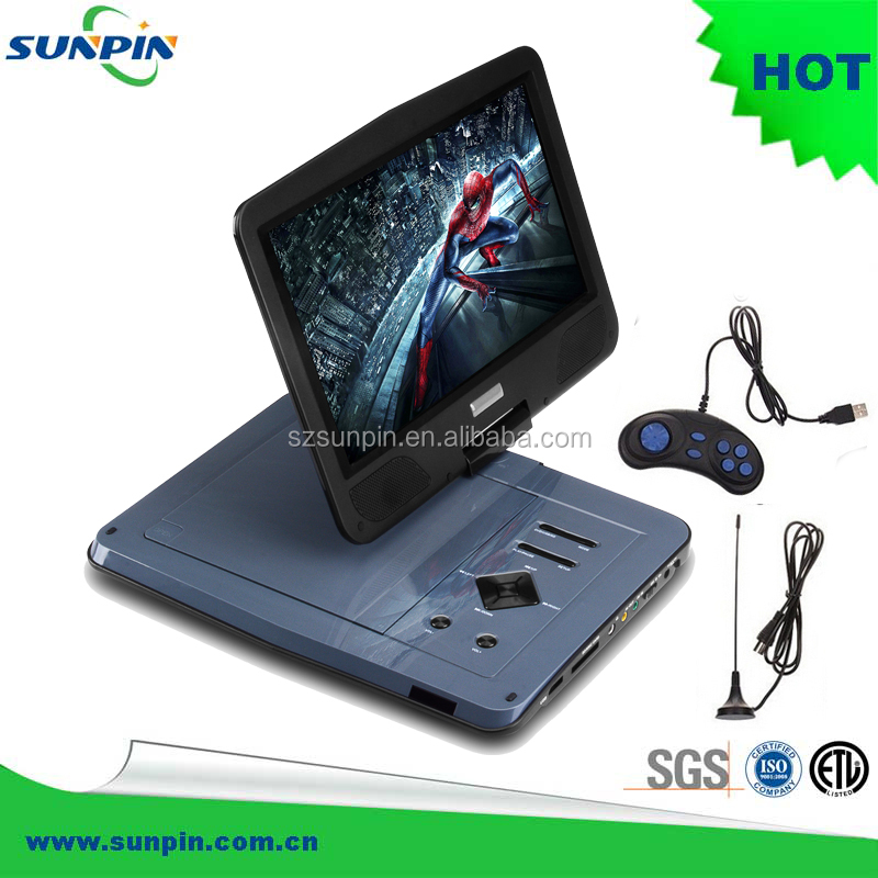 10-Inch Battery Powered Portable DVD Player support USB/SD Card/MMC Reader