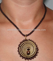 Beautiful Vintage Ethnic Brass Spiral Pendent Necklace with Wax Cotton Thread and Brass Beads Fair Trade Thailand