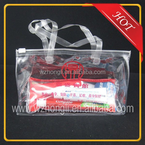 Clear plastic pvc cosmetics bag with slide zipper and rope handle
