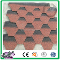 Colorful all kinds fiberglass asphalt shingle glaze china 3-tab asphalt shingles price with high quality