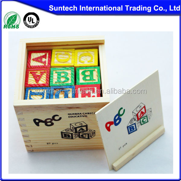 Toys & Hobbies Children Wooden Blocks Box,Popular Kids Wooden Blocks Set,Colorful Child Alphabet Blocks
