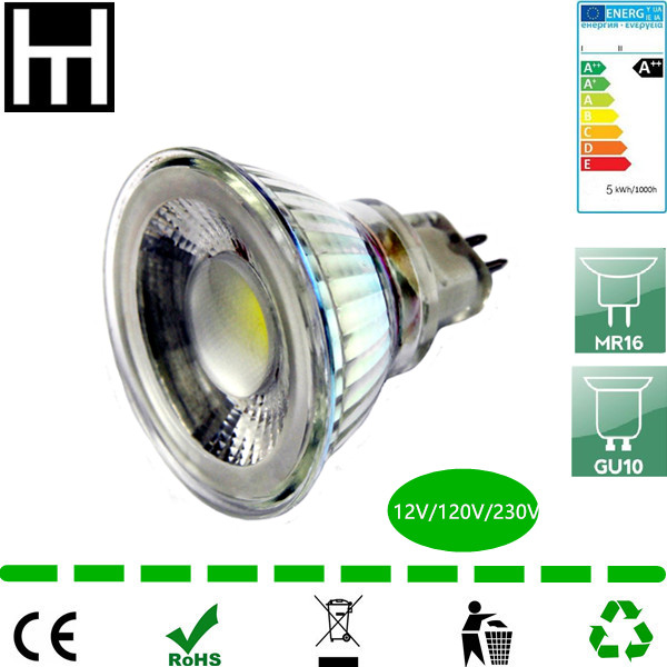 hot selling china manufature glass 5W dimmable cob 12v mr16 led spot