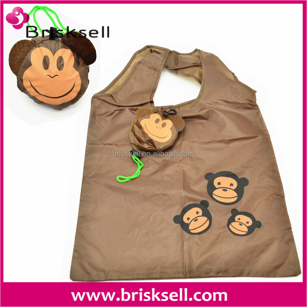 Monkey face polyester foldable shopping bag