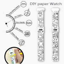 best selling DIY drawing digital ECO paper watch for promotion gift, coloring digital paper wrist watch