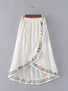 MS75188L High waist women soft embroidered skirts