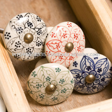 Shabby Chic Hand Painted Ceramic Cabinet Knobs