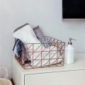 Home goods gabion iron metal gold wire mesh storage basket