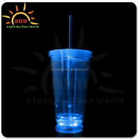 2016 best-seller wholesale double wall 16oz plastic drinking glass with round bottom and straw