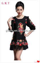 women Fashion Loose lace winter cheap floral dress