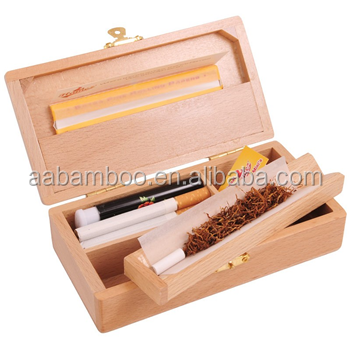 Small Sized Wood Compartment Rolling Tray Raw with Lid