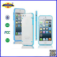 TPU Bumper With Clear Hard Back Case For Apple iPhone 5 Slim Cover Free Made in China