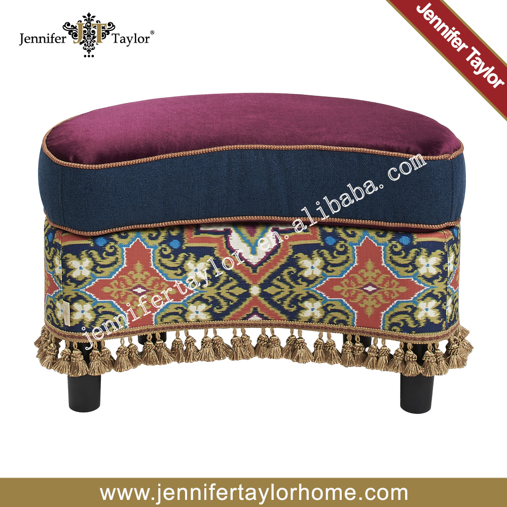 Bohemian Patchwork ottoman cover pouf stool Vintage Indian foot stool