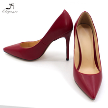 2018 Simple Matt Soft PU Wine Brodeaux Faux Leather Pointed Toe Low Cut 10cm Pencil High Heel Dress Shoes