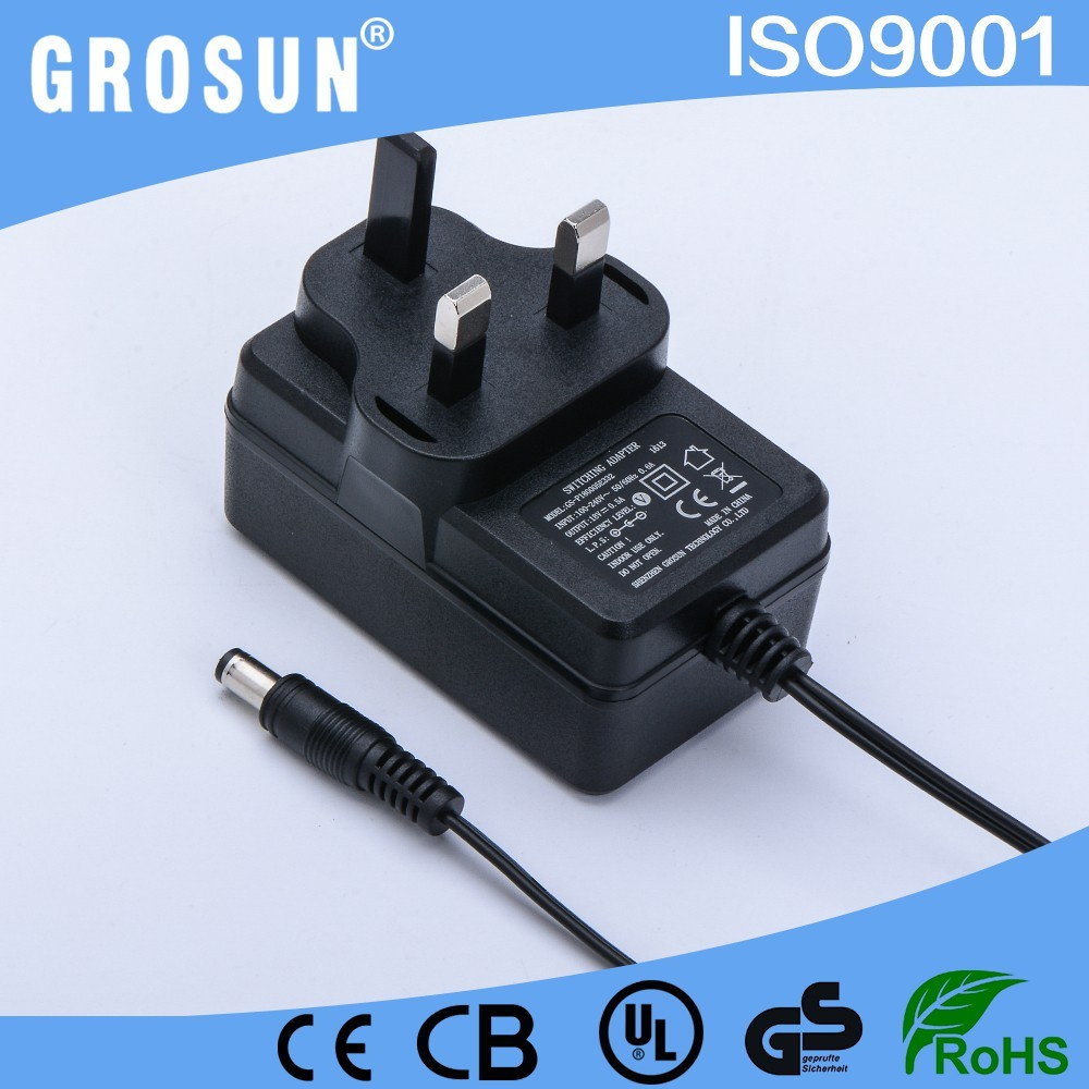 Hot Transformer 100-240V AC to 9W DC Power Adapter 18V 0.5A 3Pin UK Plug Wall Mounted AC Adapter with CE UL FCC