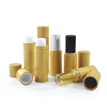 Natural empty golden silver slim bamboo lip balm container 3g 5g bamboo lipstick tube for cosmetic make up