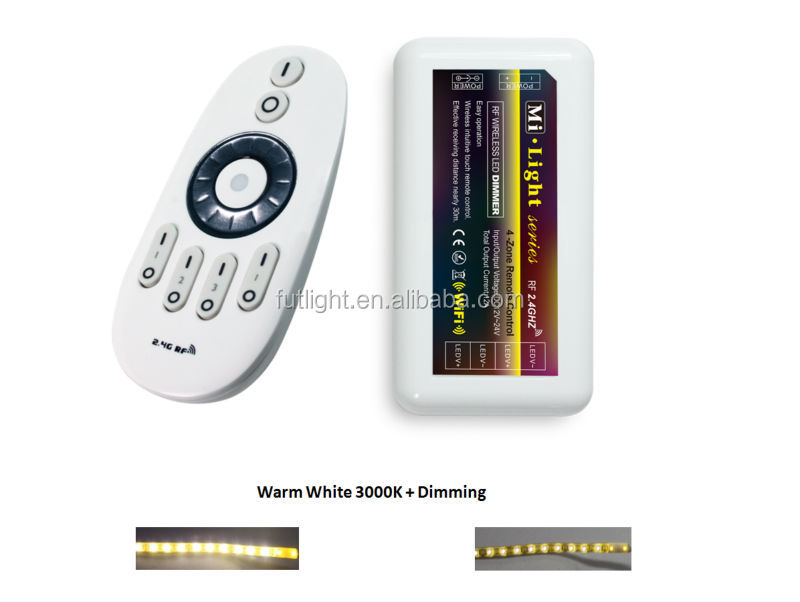 shenzhen wholesale DC12V Android/IOS WIFI Mi.light LED RGBW Controller for strips,futlight led brightness adjustable controller
