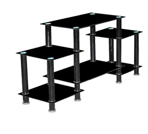 Glass top with metal frame LCD TV Stand design