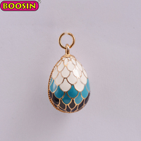 Hot sale metal enamel colorful Russia egg pendants charms for decoration