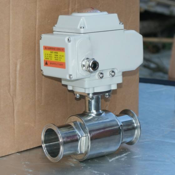 Electric actuator March sourcing SS304 SS316l stainless steel tri clamped ball valve