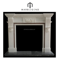 Decorative Indoor Electric marble hand carving fireplace