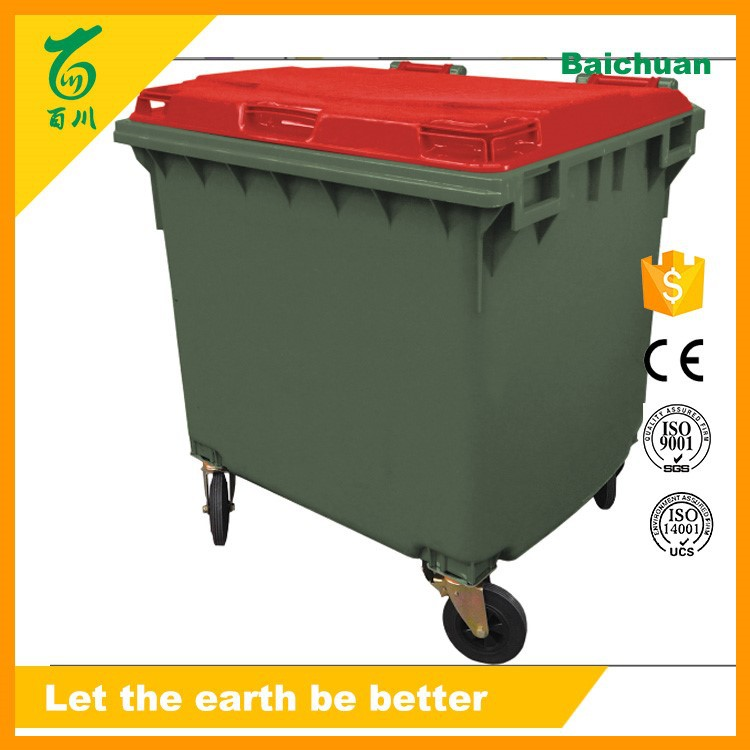 Outdoor HDPE 1100 Liter Large Plastic Container Waste Bin with 4 Wheels
