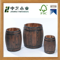 China manufacturers burnt pine brown rustic cheap wooden storage barrels