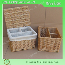 Small natural square Cosmetic basket gift basket /Rattan basket with compartment/ Wicker baskets with dividers