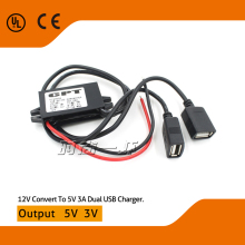2015 High quality Car DC Converter 12V to 5V 3A Double 2 USB to Auto Power Regulator Voltage Step Down Used For Car/Motorcycle