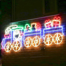 outdoor lighted trains christmas