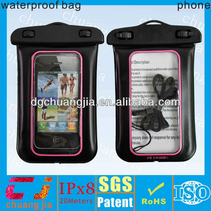 low price beach water proof bag for iphone 5 with IPX8 certificate