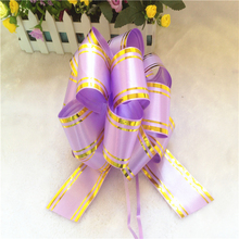 Elegant purple decorative large ribbon gift package pull bows