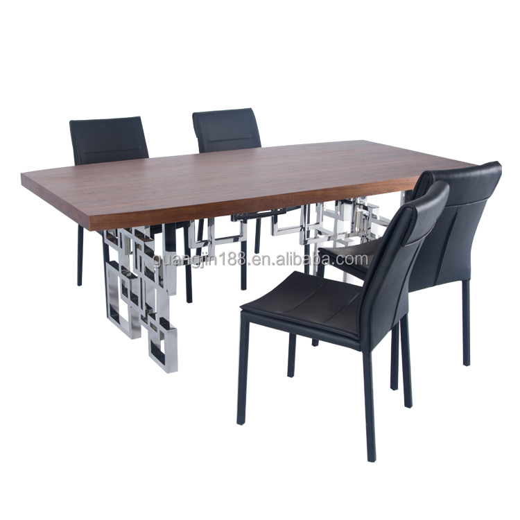 modern stainless steel dining table with leather chairs