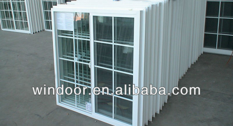 2013 new style economical white PVC sliding window ,house sliding window grill design with window blind