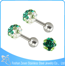 2016 Hot Selling Stainless Steel Clay Ball Crystal Ear Stud Earrings