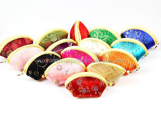 Chinese Asian Silk & Satin Fortune Cookie Coin Purse HC008